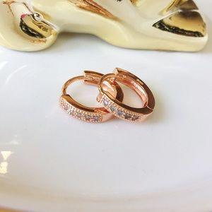 Rose gold over silver cz hoop earrings